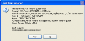 Front office email notification - guest registration