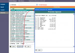 Payroll - Summary ( Komponen deduction seperti sheet Excel )