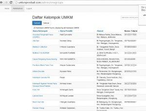 Gambar5. Web Aplikasi UMKM Provinsi Bali ( Data UMKM )